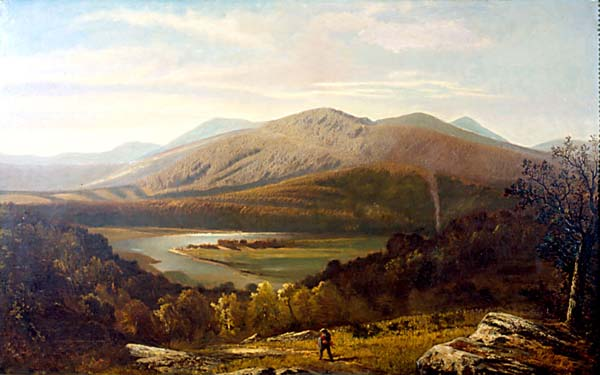 Landscape with Hiker and River painting