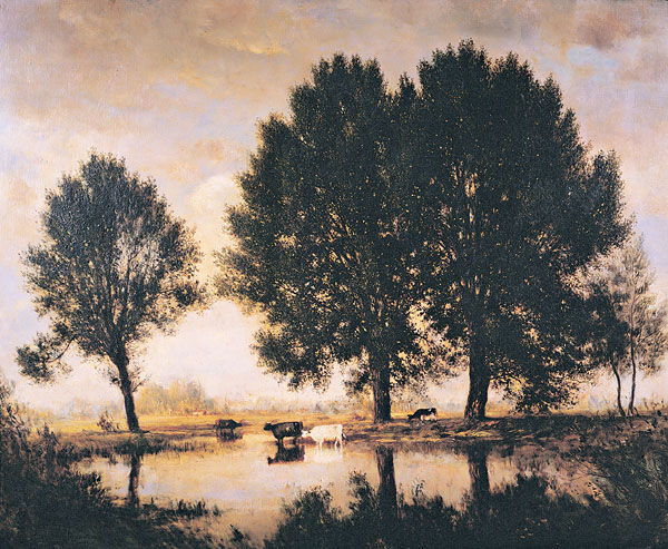 French Landscape (Near Ablon) painting