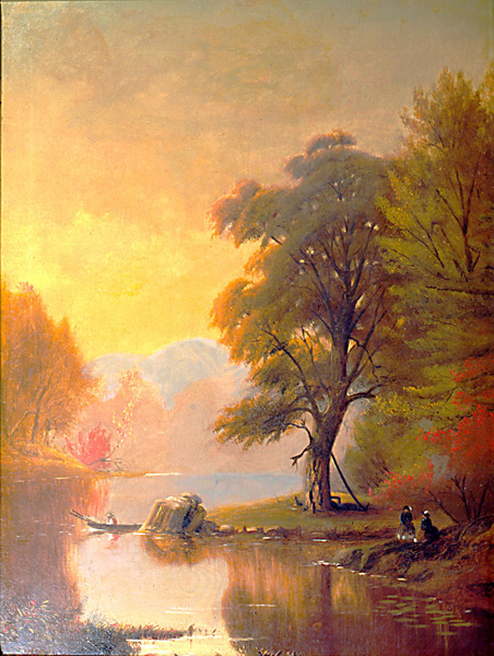 Two Ladies Seated by a Lake painting